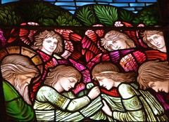 Winchester Cathedral - Stained Glass Windows (Glass Angel) Tags: preraphaelite edwardburnejones williammorris morrisstudios hampshire winchestercathedral stainedglasswindows