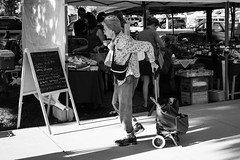 Lemon Spinach (russwynn) Tags: blackandwhite bw saltlakecityutah farmers market menu board lady cart russ wynn shopping