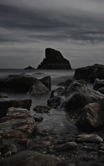 Rock (P5010459 1x2x1 E-M5 25mm iso200 f6.3 40s) (Mel Stephens) Tags: 20120501 201205 2012 q2 muchalls aberdeenshire scotland uk coast coastal stitched ptgui olympus omd m43 microfourthirds mirrorless landscape vertorama seascape rock mzuiko 1250mm em5 le long exposure silver efex