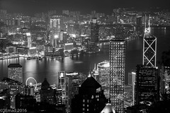 The Bright Soul of a Vibrant City (EHA73) Tags: aposummicronm1290asph leica leicamm typ246 blackandwhite bw hongkong victoriaharbor victoriapeak cityscape towers buildings skyscrapers travel night nightphotography
