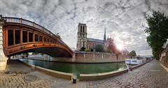 Paris curves (marko.erman) Tags: paris france iledelacit notredame cathedral gothic church architecture monument travel bridge pontaudouble seine river docks sun sunrise light panorama cityscape curved stitching stitchedpanorama sony beautiful city boat bateauivre pow uwa