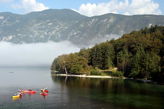 Out On The Kayaks (Alan1954) Tags: lakebohinj holiday lake water slovenia colours mist europe 2016 platinumpeaceaward platinumheartaward
