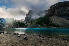 Lake Moraine on a misty day. (scottlandg6) Tags: lakemoraine alberta canada lake trees mist misty banffnationalpark banff moraine