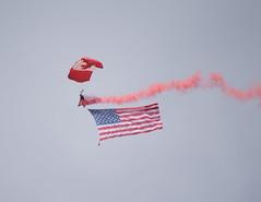 The Canadian Forces SkyHawks (nwalsh87) Tags: canada america skyhawks rcaf skydiver flag parachute freefall airshow cyxu london