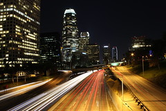4th Street Overpass Los Angeles (Jonathan Gargano) Tags: street los long exposure downtown traffic angeles 4th overpass