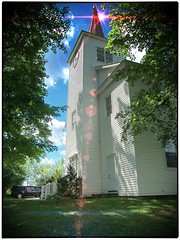 Owasco Reformed Church  NY ~ Cayuga County ~ Historical (Onasill ~ Bill Badzo - 60 Million Views - Thank Yo) Tags: county ny newyork tower clock church architecture wooden state queenanne historic historical register cayuga starlight historicplaces nrhp owasco bokehs onasill owascoreformedchurch