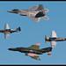 USAF Heritage Flight - F-22A Raptor, QF-4E Phantom, P-51D Mustang and a P-47D Thunderbolt