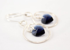 Heart of the Ocean Silver Earrings 2 (BlueSeaJewels) Tags: earrings heartearrings heartofthesea valentinesearrings blueseajewelsjanuaryearrings indigoswarovski