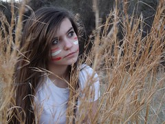 Living in the wild (Rachelle Harrison photography) Tags: red white girl grass dead paint brush
