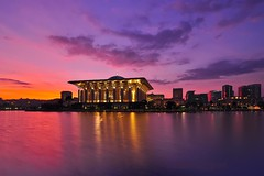 Fifty (zollatiff) Tags: city morning sky lake reflection building water colors architecture sunrise landscape twilight nikon scenery cityscape structures peaceful mosque malaysia serene putrajaya tranquil zollatiff