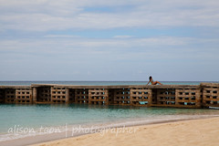 Jamaica-MoBay-Beach-6572 (alison.toon) Tags: blue sea vacation sky copyright holiday tourism beach water pier seaside photographer turquoise restful peaceful tranquility calm jamaica caribbean groyne tranquil montegobay breakwater doctorscove alisontoon