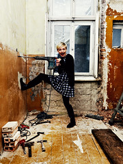 Hammer Hala (bolandrotor) Tags: color colour window vertical hammer wall digital canon photography eos eyes paint flickr dress boots room bricks rusty demolition madness 5d stains dust woodenfloor tool drill standingononeleg devastated bolandrotor mouthwideopened