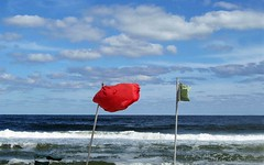 Windy Day (tmattioni) Tags: ocean blue red summer clouds danger canon surf waves wind windy elements redflag newjerseyshore beachhaven greenflag roughocean