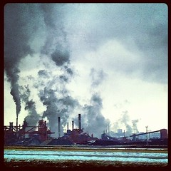 Hamilton steelworks (Piglet1955) Tags: winter snow ontario canada industry square grey driving smoke hamilton pollution squareformat hudson steelworks iphoneography instagramapp uploaded:by=instagram