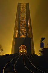 Forth Bridge Fog from Dalmeny (Grant_R) Tags: longexposure fog night scotland edinburgh tracks railway forthbridge southqueensferry forthbridges forthrailbridge railbridge dalmeny grantr