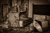 Checking Out (Robert Greatrix) Tags: camping blackandwhite bw ontario rot abandoned monochrome sepia garbage peeling sink furniture decay room sony motel dresser derelict destroyed hotelroom trashed bpc photoclub sepiatoned urbex copyrighted vandalized physco canadianphotographer 2013 torontophotographer provincialparks ontariophotographer sonyalpha sonydslr sonycameras robertgreatrixphotography robertgreatrix copyright2013 torontophotographerrobertgreatrix subdbury