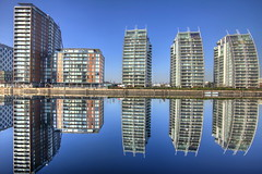 Reflections and Distortion (Asim237) Tags: blue sky reflections salfordquays salford quays nd8 canon1dsmarklll asim237
