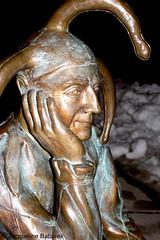 Villach, Austria (Jacqueline Baburek) Tags: old city light sky snow water statue bronze night river dark walking person hotel austria golden drops waves post mask box vivid jacqueline krnten carinthia lamb snowing ripples 28 colourful february 28th villach drau baburek
