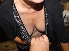 Peek-a-boo (ChuckWagon Flickr) Tags: tits boobs db r wife cleavage downblouse