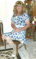 Blue/White Skirt & Blouse (bobbievnc) Tags: tv highheels legs cd skirt tgirl short blonde pantyhose crossdresser nylons shemale whitepantyhose