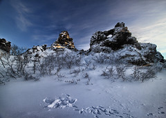 Dimmuborgir (Lava Mountains) in Iceland (` Toshio ') Tags: winter sky snow cold lava iceland europe european tracks snowangel toshio lakemyvatn dimmuborgir gameofthrones northiceland