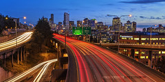 Along The Axis (Silverder) Tags: seattle longexposure i5 freeway lighttrails bluehour downtownseattle seattleskyline interstate5 offramp d600 nikond600 lakeviewblvd seattlebluehour