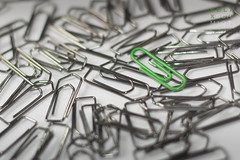 Paperclips (Felix Schmidt Photography) Tags: lighting light white color colour detail green closeup backlight composition contrast canon paper studio eos 50mm focus dof angle bokeh pov background details stock perspective indoor clip indoors processing 18 tones refreshing tone paperclip sharpness stockimage 60d