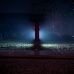 (patrickjoust) Tags: blue light usa color 120 6x6 tlr film church sign fog night analog america dark lens us reflex md focus long exposure glow fuji mechanical suburban united release tripod north foggy patrick twin maryland cable baltimore illuminated negative after medium format suburb states tungsten manual expired joust balanced 65 estados c41 unidos mamiyac330s autaut sekor65mmf35 patrickjoust fujicolornpl160t