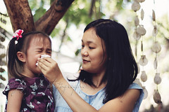 Little Miss (joy_sale) Tags: friends portrait people childhood breakfast youth children nose march kid day child play outdoor crying daughter mother innocence littlegirl date wipe gettyimages marikina consoling 2013 flickropen mar2013 rusticmornings