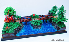 A Humble Crossing. (Mark of Falworth) Tags: bridge castle water forest river woods lego mark scene knights lcc falworth loreos