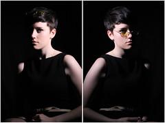 LENNON (kaitlynslocombe) Tags: portrait girl studio glasses model dress pale shorthair johnlennon blackdress yellowglasses pixiecut