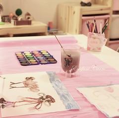 Trabajitos artísticos de mi pequeña (Estéfani Carro { Fani }) Tags: pink trabajo rosa infantil dibujo marzo acuarelas canoneos600d