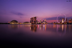 (Explored) Skyline @Night (Mar 2013) (kengoh8888) Tags: lighting longexposure sky reflection water colors gardens by marina wonderful landscape bay flyer sand singapore pentax smooth wideangle 1020 k5 mbs the simga supertree