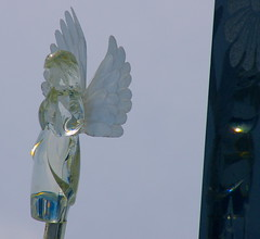 Blue for Monday (Nancy A-T ~ obsessive gardener) Tags: blue reflection angel cemetary sunny monday blueangel bluemonday