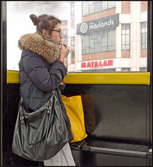 Chips at the bus stop. (Reinardina) Tags: england people urban girl candid streetphotography hampshire chips busstop fries southampton citycentre e11 sonydschx100v