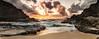 Halona Beach Cove Sunrise (Chris Galando Photo) Tags: ocean travel panorama beach water rock clouds sunrise island hawaii sand nikon rocks pacific oahu tide panoramic explore tropical gitzo reallyrightstuff 2470mm halona bh55 explored leefilters d700 nikond700 thinktankhydrophobia wavehalonabeachcove