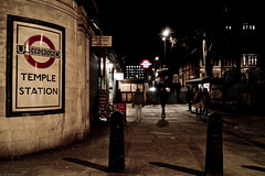 Temple Station (frederic jon) Tags: nightphotography london westminster londonunderground riverthames embankment thetube waterloobridge templestation
