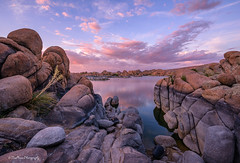 Sunset Prime (TreeRose Photography) Tags: sunset evening colors rocks boulders water reflections prescott arizona watsonlake plants clouds stormy sky landscape