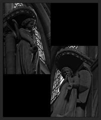 13 -  Rambouillet, glise Saint-Lubin-et-Saint-Jean-Baptiste, statues de deux anges musiciens sculptes par Zoegger et Gaudran (melina1965) Tags: aot august 2016 ledefrance yvelines nikon d80 noiretblanc blackandwhite bw mosaque mosaques mosaic mosaics collages collage rambouillet sculpture sculptures statue statues glise glises church churches