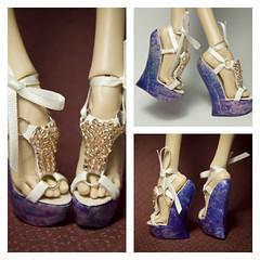 Violet Meadow (UrsiSarna) Tags: fashion popovy sisters little owl peewet bony blue jay heels wedge ballet hand made doll resin