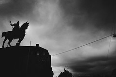 (jean_pichot1) Tags: overcast windows storm above up building lamp streetlight dark silhouette cloudy morning square kungsportsplatsen gothenburg horse statue