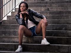 P8210225 (marcel_reimann) Tags: nrnberg bayern deutschland de girl woman stegerwalk olympus epl7 stairs lightroom light availablelight style stylish sitting
