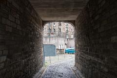 Cobbles & Bricks (m.o.n.o.c.h.r.o.m.e.) Tags: archway path cobbles breadstreetlane yellowline scotland edinburgh bricks wall