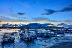 Blue of singing( DSC_0963) (nans0410(busy)) Tags: taiwan newtaipeicity bali port bluesky boat sunrise dawn scenery outdoors