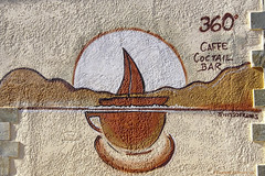 when art meets the wall (@Katerina Log) Tags: cafe sonya77 sigma mani peloponnese greece stoupa katerinalog outdoor art graffity wall colorful colour dt1835mmf18