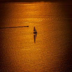 Evening sail (Explored) (Kelly's Eye Pics) Tags: solitude alone golden glow sail reflection boat cruise evening triangle