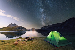Darkness vs Light time blending at Roborent Lake (Tabrisxvii) Tags: ifttt 500px time blending sunset night long exposure lake mountains milky way stars tent camping sky italy piemonte