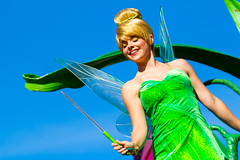 Tinker Bell (EatThisLight) Tags: disney disneyland character facecharacter thempark california anaheim female girl magic colorful pertty smile pixie pixiehollow green fairy fairies peterpan disneyfairies sassy neverland soundsational parade disneyparade wings lovely fun pixiedust
