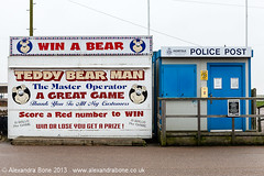 Teddy Bear Man (no wonder the Police showed up) (Alexandra Bone Photography) Tags: bear winter man beach out season town marine photographer post teddy south great norfolk police parade alexandra norwich bone arcades yarmouth amusements abandonment denes alexandrabonephotography wwwalexandrabonecouk