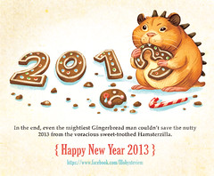 New Year Hamsterzilla (Teafable) Tags: illustration newyear hamster gingerbreadmen